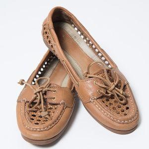 Sperry Audrey Cane Woven Boat Shoe 8.5 Cognac